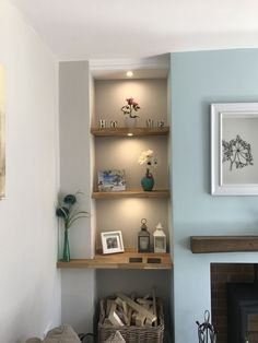 1576114675 howdens oak shelving with lights dulux pebble shore and wall living room grey egg scaled - Living Room Ideas Duck Egg Living Room, Living Room Paint, Living Room Grey, Living Room Decor, Bedroom Decor, Lego Bedroom, Living Rooms, Bedroom Ideas, Oak Dining Room