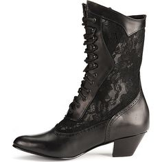 Women's black lace inset leather Victorian boots ($100) ❤ liked on Polyvore featuring shoes, boots, footwear, goth, heels, black leather shoes, goth boots, leather shoes, black boots and gothic shoes
