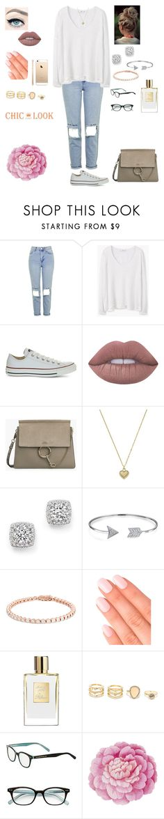 """""""Chic look """" by tiffany-london-1 ❤ liked on Polyvore featuring Topshop, MANGO, Converse, Lime Crime, Michael Kors, Bloomingdale's, Bling Jewelry, Elegant Touch, LULUS and Kate Spade"""