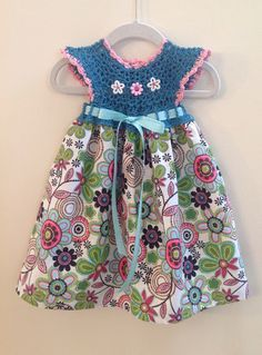 Crochet top and fabric dress