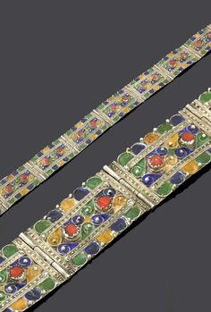 Algeria - Grand Kabylie | Belt from the Beni Yenni people; with 13 hinged plates decorated with silver, enamel and coral. | 372€ ~ sold (May '15)