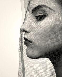 Irving Penn Photography #face #profile #bw #fishnet #net #veil
