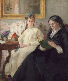 Berthe Morisot was among the few women in the original French Impressionist circle. She was married to Eugene Manet and was the sister-in-law of Edouard Manet. Her daughter was Julie Manet, also an artist. Pierre Auguste Renoir, Edouard Manet, National Gallery Of Art, Art Gallery, National Art, People Reading, Woman Reading, Mary Cassatt, Oil On Canvas