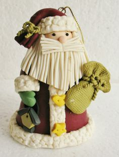 NWOT SANTA Hand Crafted Polymer Clay Country Shabby Christmas Holiday Ornament