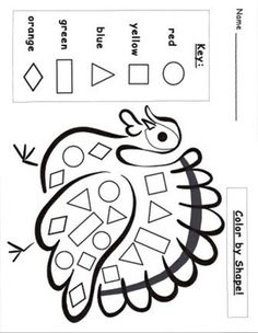 Here are the Amazing How To Color A Turkey Coloring Page. This post about Amazing How To Color A Turkey Coloring Page . Thanksgiving Preschool, Fall Preschool, Preschool Lessons, Preschool Classroom, Preschool Worksheets, Preschool Learning, Classroom Activities, Toddler Activities, Preschool Activities