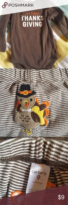 Thanksgiving Turkey Set Onesie First This is a great set for a little turkey or Jake's first Thanksgiving! Worn maybe one time, no stains or signs of wear. Get it in time for Thanksgiving, order now! Carter's Matching Sets