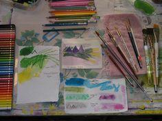 Great pic of art supplies. keep an art journal daily journal Watercolor Pencils, Watercolor Paintings, Watercolor Ideas, Tabu, Art Web, Daily Journal, Painting Tips, Art Sketchbook, Pencil Art