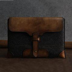 "MacBook 13"" PRO case -Leather laptop sleeve-wool felt leather-macbook briefcase on Etsy, 599:05 kr"