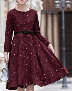 #AdoreWe 18CD.Y Dark Red Polka Dot Normal Button Midi Dress - AdoreWe.com