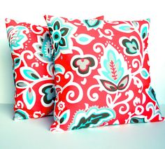 SALE Two Floral Red Indoor/outdoor Pillow By ThatDutchGirlHome