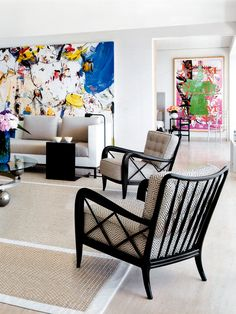 Open Space Living Room With Large Art Displays