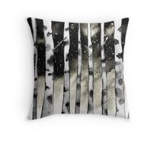 Throw Pillow @redbubble. Birch inspired watercolor piece. Birch trees against a starry night sky. Nature inspired. Birch art. #redbubble #birch #birchtrees #art #artist #trees #nature  #pillow #decor #design. Throw pillow