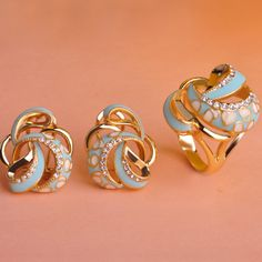 Blucome Enamel Earring ring Jewelry Sets For Women Turkish Jewelry Set Brand Esmalte Enamel Wedding Accessories Set Aneis Anel #Affiliate