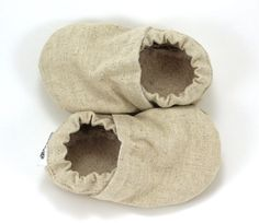 linen baby shoes tan booties soft sole shoes by ScooterBooties