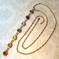 Crystal Rainbow Chakra Necklace Tutorial| www.rings-things.com