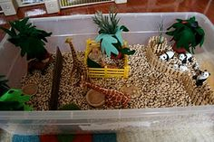 Sensory box, with black eyed peas. With dinos for the boys.