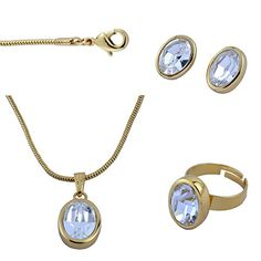 Trisha Jewels 24K Gold Plated Studded With SwarovskiGodsend Serene Stone Pendant Set with Earing  Ring ** More info could be found at the image url. Note:It is Affiliate Link to Amazon.