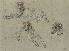 Briton Riviere - Study of greyhounds