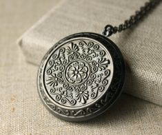 Large Locket Necklace Antiqued Silver locket long Chain Necklace secret message locket photo locket jewelry keepsake gift for her N74