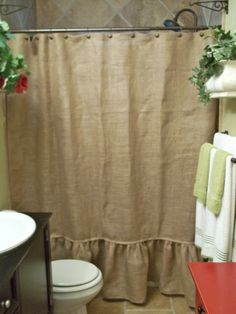 Ruffled Bottom Burlap Shower Curtain by SimplyFrenchMarket on Etsy, $62.00