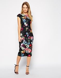 Enlarge Ted Baker Cathina Pencil Dress in Oil Painting Print
