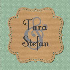 Een hippe, romantische trouwkaart groene achtergrond met stippels en een label van vintage papier.