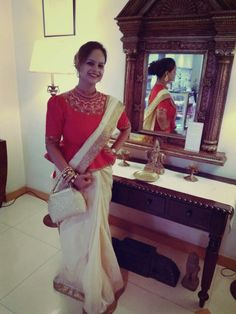 Kosa silk saree with peplum blouse.
