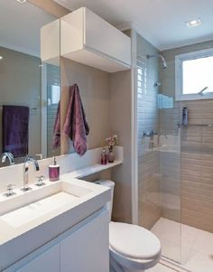 Most Popular Small Bathroom Remodel Ideas on a Budget in 2018 This beautiful look was created with cool colors, and a change of layout. Bathroom Layout, Bathroom Interior, Small Bathroom, Bathroom Ideas, Small Rooms, Small Spaces, Wc Decoration, Comfort Room, Shower Shelves