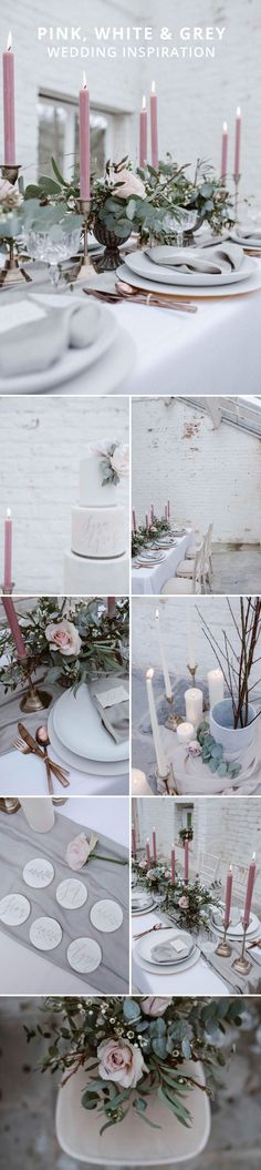 Pink white and grey wedding inspiration | Alternative wedding colours | light and airy wedding decoration | Pink wedding | Grey wedding | White wedding | Pink wedding candles | Blush wedding | copper wedding theme