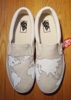 I want shoes with a world map design on them, I will totes where them to the ends of the earth.