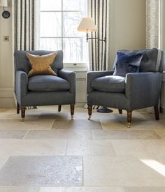 Distressed Bourgogne Clair Flagstones - a beautiful aged french limestone floor. This stone has aged edges and a textured surface Limestone Flooring, Natural Stone Flooring, Style Tile, Hard Floor, Commercial Interiors, Country Chic, Love Seat, Tiles, It Is Finished