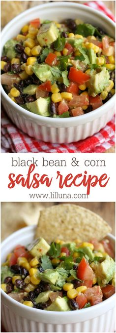 Quick, easy and delicious Black Bean and Corn Salsa - one of the best chip dips you'll ever try - filled with corn, black beans, tomatoes, cilantro, and avocado in Italian dressing!