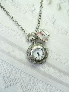 Alice in Wonderland Pocket Watch and Tea Cup Necklace