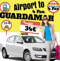 ALICANTE AIRPORT TO GUARDAMAR FOR 4 PAX. www.alicante-airporttransfers.com/en/  1-4 Pax. 34€ 1-7 Pax. 48€ 1-8 Pax. 58€
