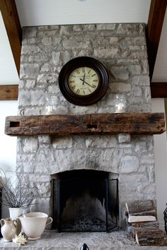 decorate any fire place with a rustic mantel piece made from reclaimed barn beams add history to your great room