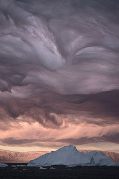 Stratus clouds formation above Greenland
