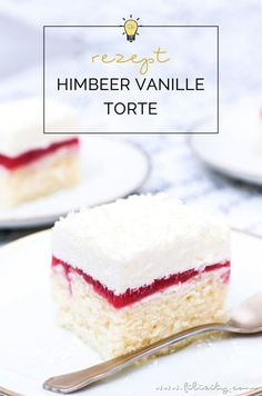 Einfaches Rezept für Himbeer-Vanille-Torte (Frau Holle Kuchen) – Fluffiger Blec… Simple recipe for raspberry-vanilla cake (Frau Holle cake) – Fluffy cake with raspberry-mirror, cream and chocolate flakes. Delicious in summer and winter! Raspberry Recipes, Blueberry Recipes, Ice Cream Recipes, Raspberry Torte, Healthy Cake Recipes, Easy Smoothie Recipes, Avocado Dessert, Vanilla Coffee Cake Recipe, Homemade Frappuccino