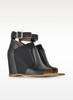 Black Leather Wedge Sandal w/Ankle Wrap - MM6 Maison Martin Margiela / メゾンマルタンマルジェラ