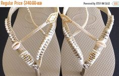 SALE Silver & Gold Wedding Decorated Flip Flop Sandals Flat Thong Slippers based on Cream Havaianas - 100% Handmade. by SarakWorkshop on Etsy
