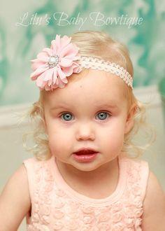 Baby Headband- Precious Vintage Pink Chiffon Twirly Flower Headband with Pearl- Newborn, Infant, Toddler Girl Photo Prop Hair Accessory