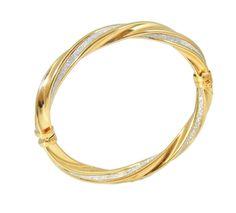 14k Gold Diamond Pave Hinged Bangle Bracelet EXTRAORDINARY Contemporary
