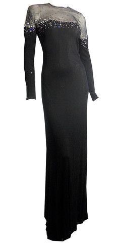 Adolfo Black Jersey Fitted Evening Gown w/ Sheer Rhinestone Shoulders - Dorothea's Closet Vintage