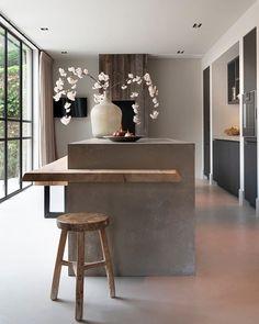 Wood Kitchen Island, Ikea Kitchen, Kitchen Decor, U Shaped Kitchen, Interior Design Living Room, Home Kitchens, Building A House, Kitchen Design, Sweet Home