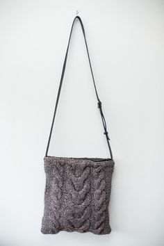 Hand Knit Cable Cross Body Bag /  Grey Brown Alpaca / by Imunde