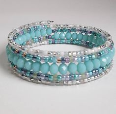 Memory Wire Bracelet in shades of light turquoise blue purple
