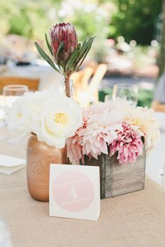 red protea garden roses and dahlia rustic wedding centerpiece - Deer Pearl Flowers Romantic Wedding Centerpieces, Wedding Table, Wedding Decorations, Trendy Wedding, Diy Wedding, Wedding Events, Wedding Ideas, Elegant Wedding, Wedding Photos