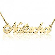 Collar con nombre en Plata chapada en Oro de 24K modelo Alegro