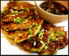 Zucchini Scallion Pancakes with Sweet Soy Dipping Sauce Recipe – The Lemon Bowl. The soy sauce sort over just covers up the zucchini flavor. Side Dish Recipes, Vegetable Recipes, Asian Recipes, Vegetarian Recipes, Cooking Recipes, Healthy Recipes, Side Dishes, Delicious Recipes, Healthy Foods