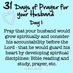 31 Days of Prayer for your Husband Challenge :: OrganizingMadeFun.com