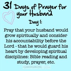 31 Days of Prayer for your Husband Challenge :: OrganizingMadeFun.com